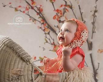 Sitter salmon mohair bonnet,Toddler bonnet,Knitted bonnet