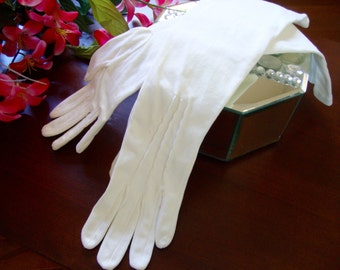 Ladies Evening Gloves White Long Gloves Vintage Formal Glove