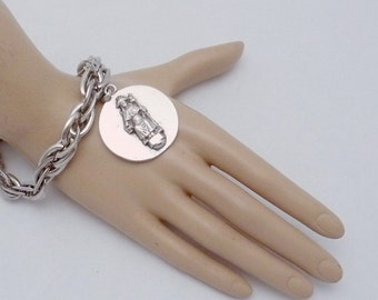 Vintage Taxco Mexico Mexican Sterling Silver Heavy Chunky Charm Bracelet 22345