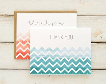 Chevron Thank You Cards, Chevron Stationery, Thank You Notes, Chevron Cards, Wedding Thank You, Blank Cards, Stationary, Notecards