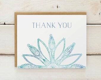 Mandala Thank You Stationery, Thank You, Watercolor Cards, Thank You Card Set, Stationary, Thank You Notes, Mandala Cards