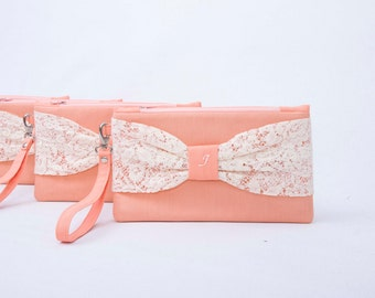 Light pale salmon  bow wristlet lace clutch,bridesmaid clutch ,with MONOGRAMM option ,Set of 1,2,3,4,5,6,7,8,9,10,11,12, piece 12,90 USD