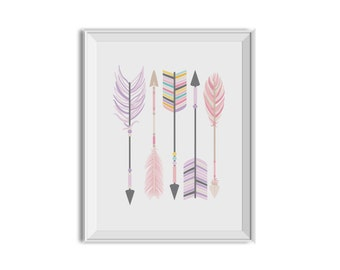 Pink Purple Nursery Decor, Girl, Arrows, Feathers, Tribal Nursery Art, Pink Purple Children's Room Art, Feathers, Tribal Arrow, Pink, Purple