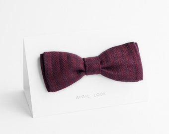 Men's bow tie, chevron bow tie in eggplant colour - double sided