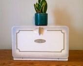 Vintage White Metal Breadbox.