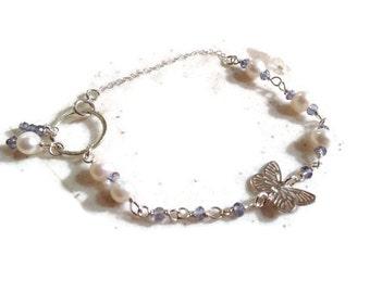 Blue Quartz Bracelet - Sterling Silver Jewelry - Pearl Gemstone Jewellery - Butterfly - Fashion - Chain