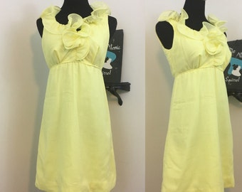 Lemon Drop // 1960s Miss Elliette Yellow Ruffle Cocktail Dress with Empire Waist
