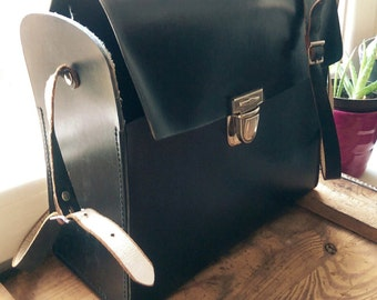 1960s One Strap Black leather 'Box' Purse