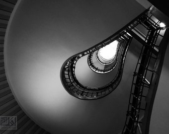 Spiral staircase, Prague photography, Black and White, Light bulb staircase, Architecture art, Cubist architecture, Staircase print