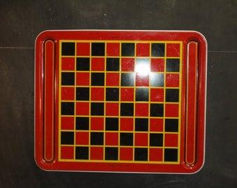 Retro Metal Checkers Game Board Display-Lithograph-Tray-Wall Display