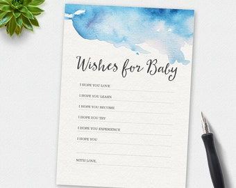 Printable Wishes for baby card, baby shower wishes for baby card, watercolour wishes for baby, 5x7, baby shower games, baby shower printable