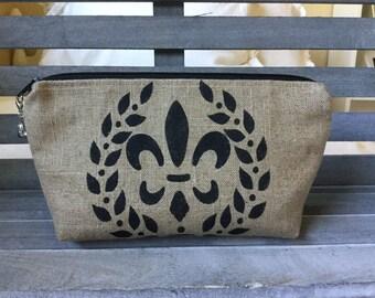 Linen Makeup Bag Fleur De Lis  Enter Coupon Code SALE50 and Save 50%