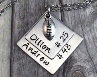 Personalized football necklace,  support your athlete