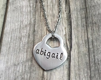 Personalized name necklace, hand stamped stainless steel, heart lock