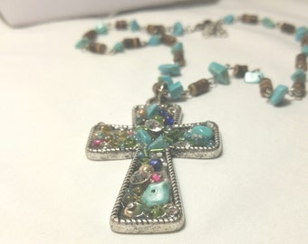 Necklace, Large Chunky Cross, Chunky Jewlery,Religious Jewelry, Cross Jewelry,Turquoise Necklace,Large Chunky Cross Jewelry by Cindydidit