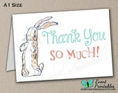 Velveteen Rabbit Thank You Card, Printable DIY Folded Card A 1 Size, Bunny Baby Shower, Instant Digital Download by Event Printables