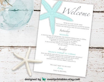 Printable Starfish Welcome Letter, Beach Wedding Itinerary Card, Digital File, Custom Color by Event Printables