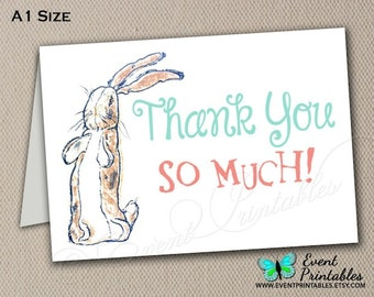 Velveteen Rabbit Thank You Card, Printable Folded Card A1 Size, Bunny Baby Shower, Instant Digital Download by Event Printables