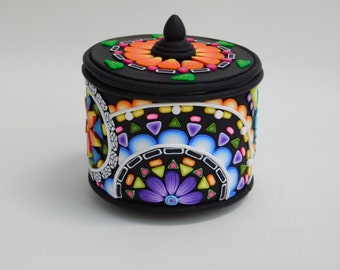 Polymer Clay Mandala Can, mosaic flower petal patterns, mandala design, recycled art