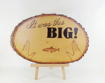Fishing Wall Art - Creative Wood Pyrography - Funny Quote Wall Hanging