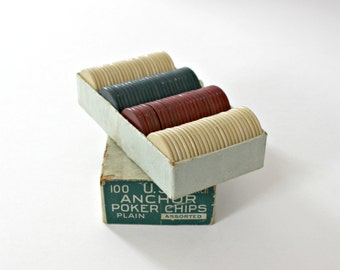 Vintage Clay Poker Chips - Anchor - One Box - 100 Chips - Assorted White, Red, Blue - 1940s - Original Box