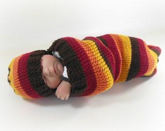 Cocoon, Sleep Sack, Sleep Bag, Blanket in Fall Stripes
