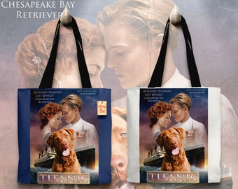 Chesapeake Bay Retriever Art Tote Bag - Titanic Movie Poster   Perfect DOG LOVER Gift for Her Gift for Him