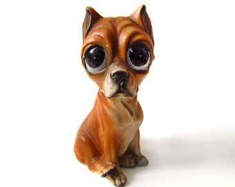 Boxer Figurine Sad Eyed Dog Ceramic Puppy Dog Sad Eyes Made in Japan Boxer Dog Lover Collector Gift Vintage Puppy Figurine
