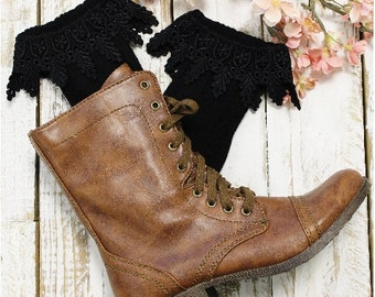 Lace boot Socks,combat  boot socks,womens boot socks, ankle socks, short boot cuff socks leg warmers BOOT BLISS Black Catherine Cole  SLXC2