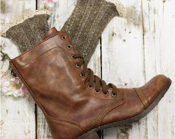MISS TORI Brown tweed Socks, lace boot socks,combat boot socks, womens cowboy boot socks, country wedding, rustic, Catherine Cole   SLX204L
