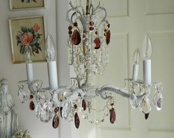 Italian 5 Arm Painted Brass Chandelier featuring Amethyst Almond Crystals