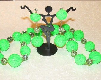 Vintage Vendome GREEN Plastic Ball and Rhinestone Necklace with Matching Earrings