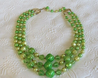 Vintage Green Three Strand Beaded Necklace ~ Marked Japan  St Pattys Day