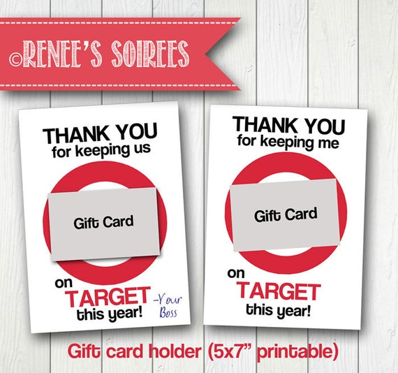 Target Wedding Registry Gift Card: Printable GIFT CARD Holder For Teacher Coach Coworker
