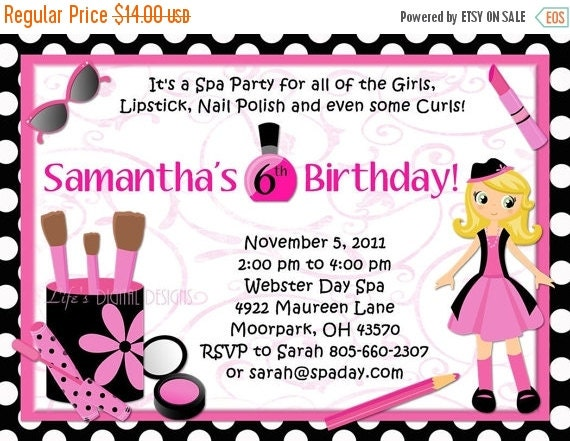 Spa Party Birthday Invitations Glamour Girl Beauty Day Polka Dots or Solid Background Options Customizable Printable