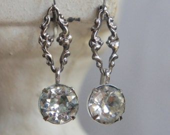 Vintage assemblage earrings sterling earrings vintage large rhinestone earrings bridal assemblage jewelry F329-by French Feather Designs.