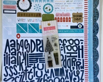 Bella Blvd Winter Wonder scrapbook kit by Stephanie Hunt, contains 6 pcs. 12X12 double-sided cardstock quality paper, Alpha Bits Stickers