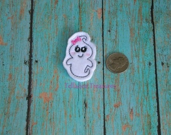 """Girly Ghost Feltie - 2"""" small White felt - Great for Hair Bows or Crafts Pink Bow - Halloween"""
