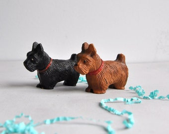 Vintage Celluloid Scottie Terrier Dogs - Set of 2