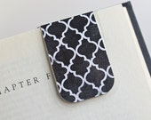 Magnetic Bookmark Laminated Black and White Moroccan Tile Pattern Teacher Gift Birthday Christmas College Student School Education