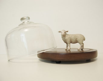 Vintage Cheese Board With Glass Cloche Cover, Vintage Goodwood Covered Cheese Plate