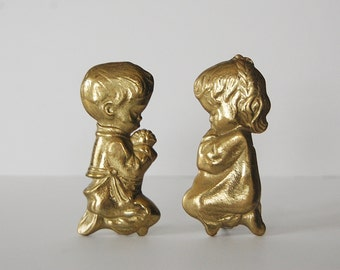 Brass Children Figurines, Boy and Girl Praying Figurines, Kids decor, Religious