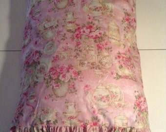 Pink Floral  Shabby Chic ,Pillow Case / Cover with Ruffle or without Ruffle
