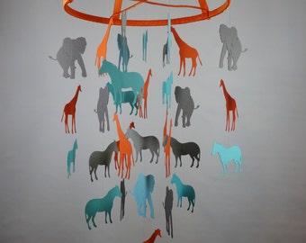Safari Baby Mobile in Orange, Grays, Blues with Giraffes, Zebras and Elephants