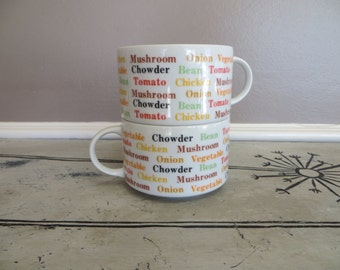 Soup Cup Soup Mug Chowder Cup Large Mug Get Well Gift Typography Colorful Cup Made in Japan Wedding Gift