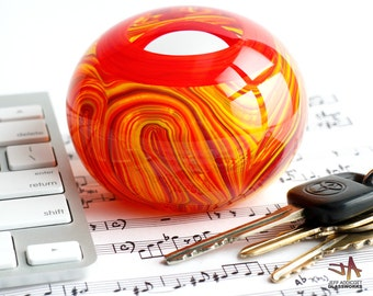 Hand Blown Glass Paperweight - Red Orange Yellow Swirls with Lens Top