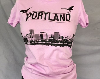 Womans Shirt, Portland, Portland Skyline,  Portland Oregon, Oregon, Crows