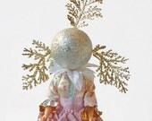Christmas Tree topper, Sugar Plum Fairy, Surreal Xmas, silver and white