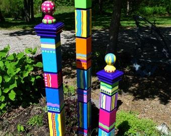 Single Small Garden Totem- Garden Sculpture- Colorful Garden Art