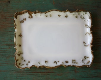 Gold Edged Milk Glass Dish, Vintage Milk Glass, Milk Glass Trinket Dish, Embossed Milk Glass Dish